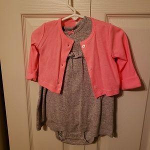 Carters Onesie dress with cardigan set